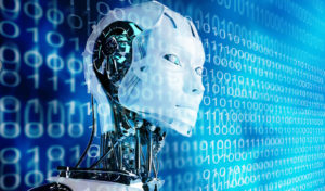 technology background  with robot  android women